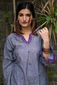 Grey Embroidered Kurti