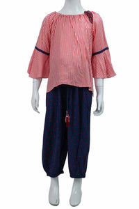 Red Stripe Top Harem 2pcs Set