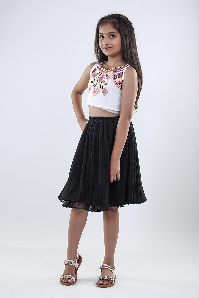 Embroidered Crop Top And Short Skirt