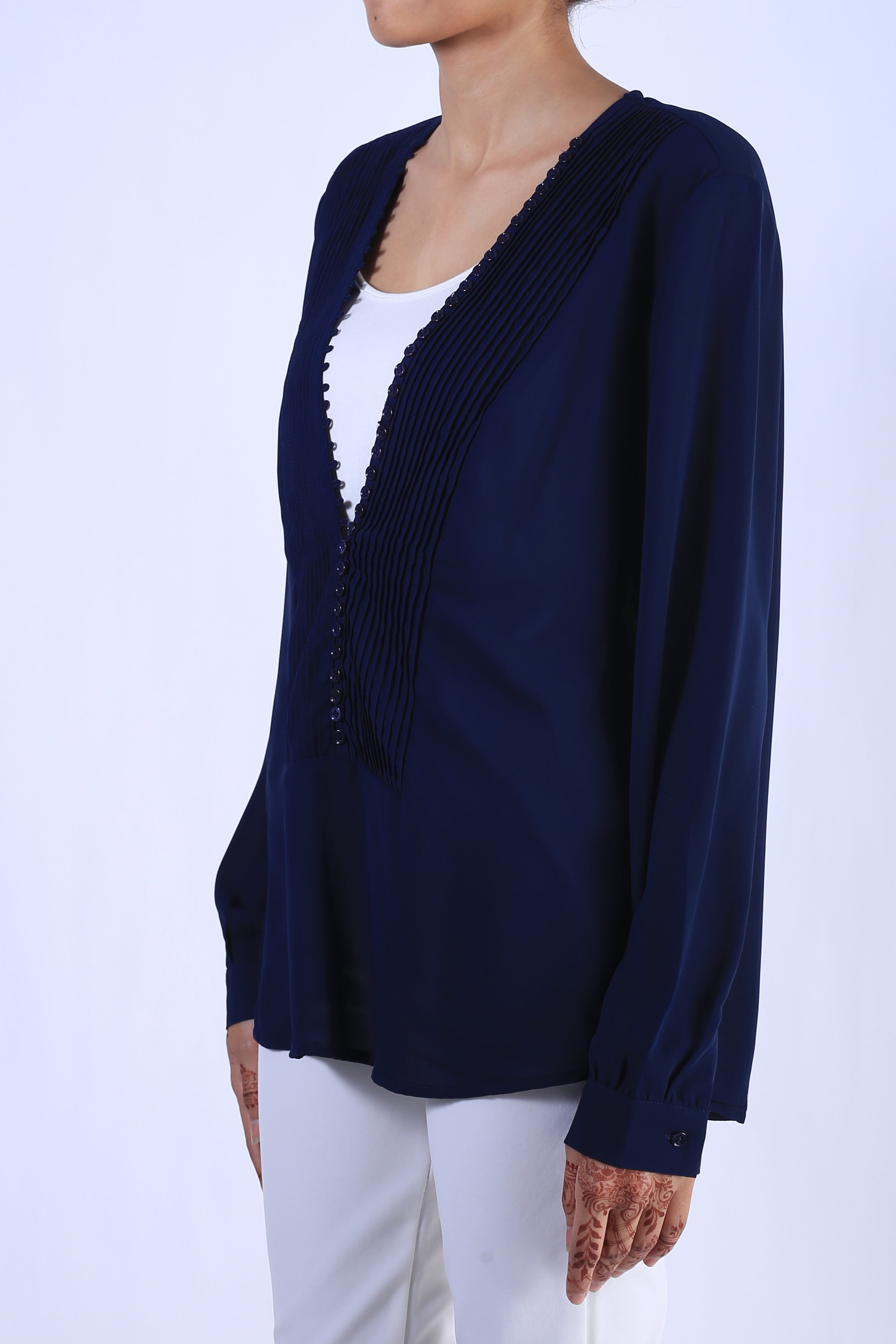 Looped Button Georgette Top