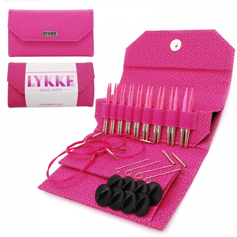 "Blush 3.5"" Interchangeable Circular Needle Set in Magenta Basketweave Case"