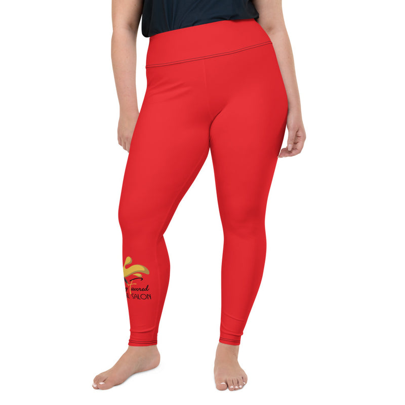 All-Over Print Plus Size Leggings red