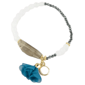 Agate Glass Crystal Details Bracelet with Gemstone White amberlila-shop.myshopify.com