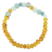 Load image into Gallery viewer, Amazonite Glass Baltic amber Bracelet