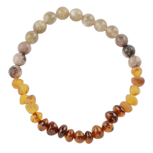Amber bracelet with Rhodonite amberlila-shop.myshopify.com