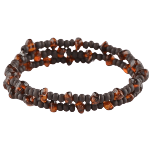 Amber bracelet with Tobo Seed beads
