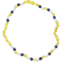Load image into Gallery viewer, Amber necklace for babies with Lapis lazuli Jadeite amberlila-shop.myshopify.com