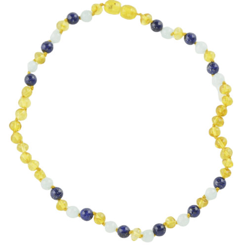 Amber necklace for babies with Lapis lazuli Jadeite amberlila-shop.myshopify.com