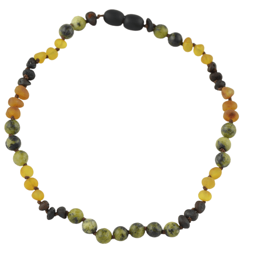 Amber necklace for babies with turquoise amberlila-shop.myshopify.com