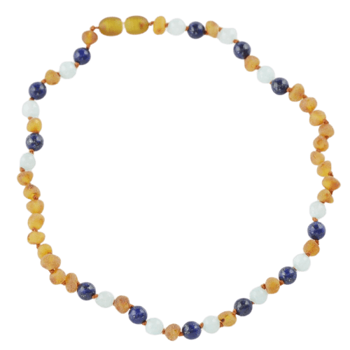 Amber necklace for kids Children with Lapis lazuli Jadeite amberlila-shop.myshopify.com