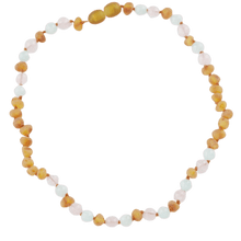 Load image into Gallery viewer, Amber necklace for kids or babies with quartz jadeite amberlila-shop.myshopify.com