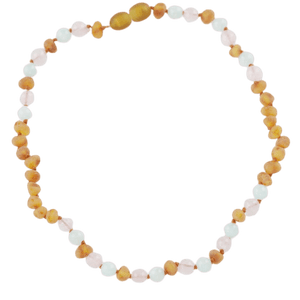 Amber necklace for kids or babies with quartz jadeite amberlila-shop.myshopify.com
