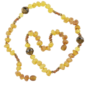 Amber necklace with raw amber beads amberlila-shop.myshopify.com