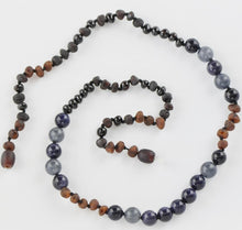 Load image into Gallery viewer, Baltic Amber necklace with Gold stone Jadeite amberlila-shop.myshopify.com