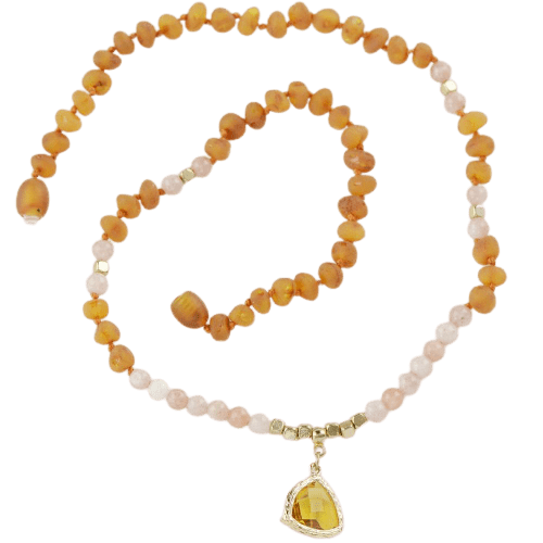 Baltic Amber necklace with Pink agate amberlila-shop.myshopify.com