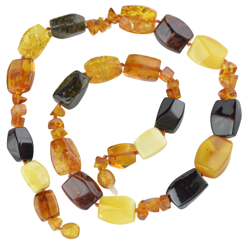 Baltic amber necklace mix color