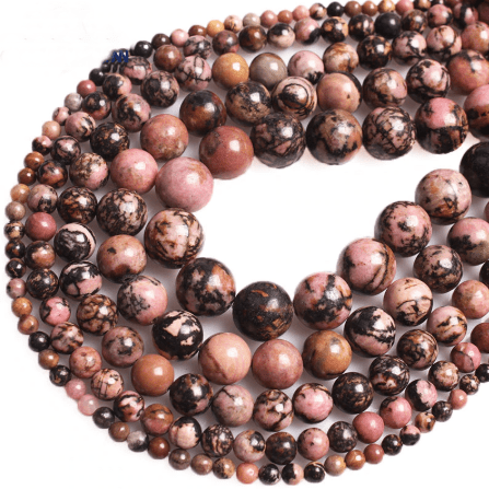 Rhodonite Beads for jewelry making amberlila-shop.myshopify.com
