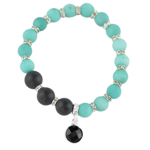Black Onyx Bracelet with Jadeite Beads amberlila-shop.myshopify.com