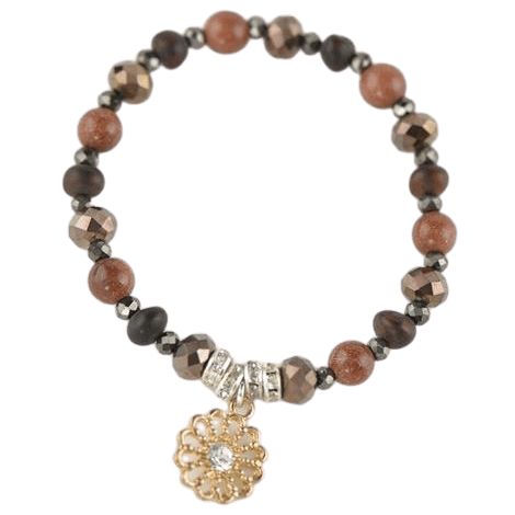 brown color beads bracelet with genuine baltic amber and glass kl40
