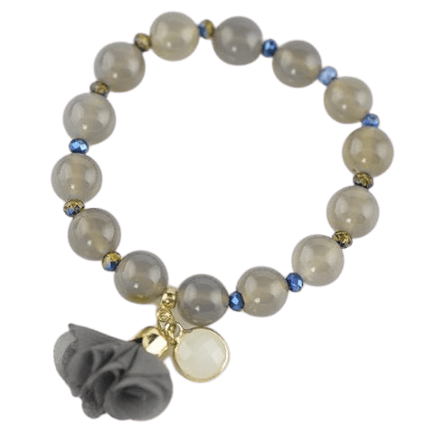 Glass Agate Crystal details Flower Bracelet with Gray Color Beads amberlila-shop.myshopify.com