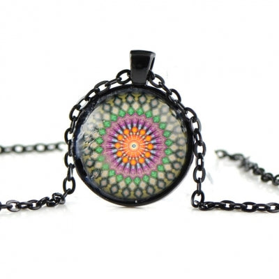 Glass dome necklace with black chain SN09