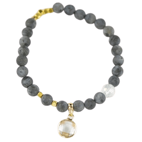 Gray Labradorite bracelet with Crystal Glass Beads with Pendant amberlila-shop.myshopify.com
