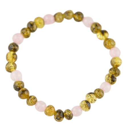 Green amber Bracelet with Quartz