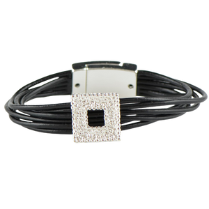 White black leather bracelet HJ41