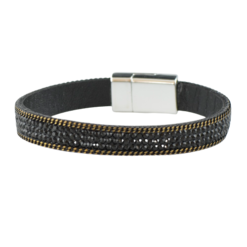 Leather bracelet with magnetic clasp HJ115