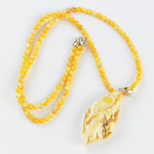Load image into Gallery viewer, White Baltic amber Pendant Necklace 12M