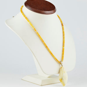 White Baltic amber Pendant Necklace 12M