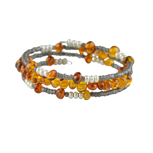 Memory wire bracelet with amber GM05