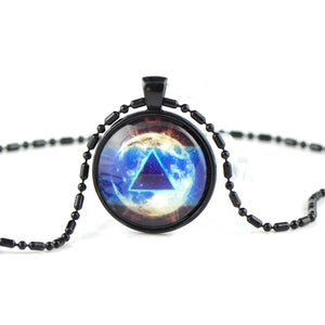 Hamsa Glass dome pendant necklace GG09