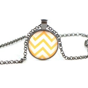 Yellow zigzag photo Glass necklace BB10