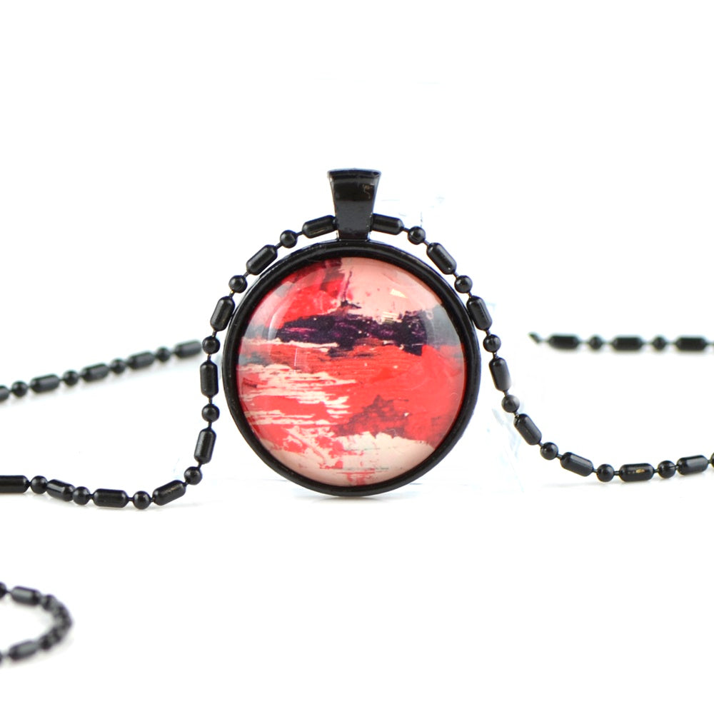 Red Glass Cabochon necklace 25mm BB01