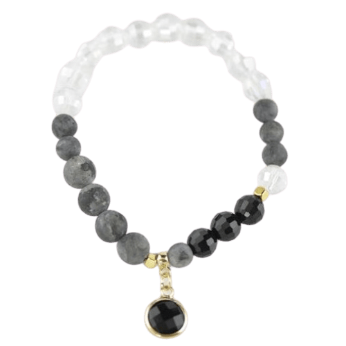 Labradorite Crystal Glass bracelet with Black Pendant amberlila-shop.myshopify.com