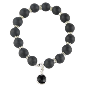 Matt Black Onyx bracelet with Round Beads amberlila-shop.myshopify.com