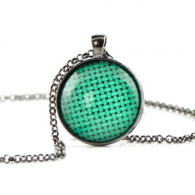 Mint Glass dome necklace HB10