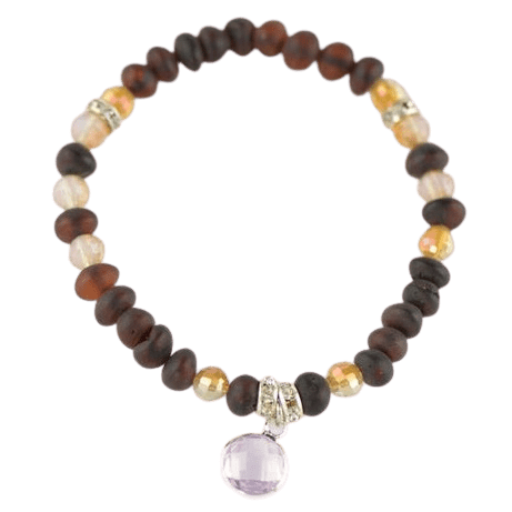 Natural Baltic amber Beads Bracelet with Glass