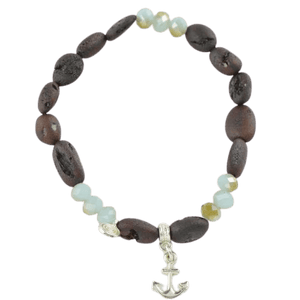 Olive Raw Amber bracelet with Pendant
