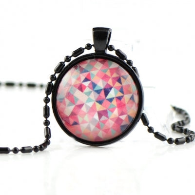 Pink glass dome necklace NN08