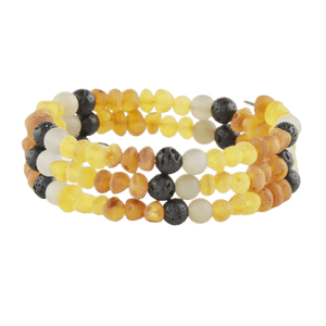 Raw Amber bracelet with Agate Lava