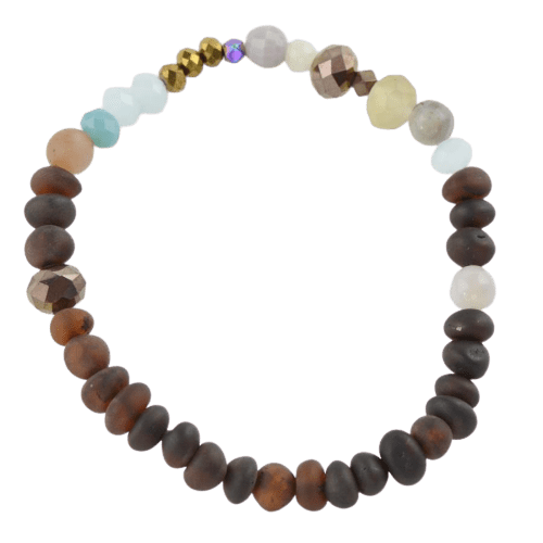 Raw Amber bracelet with Glass Agate