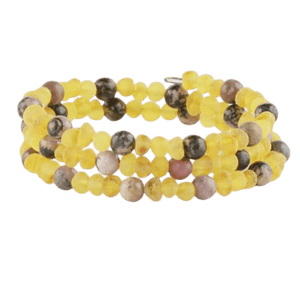 Raw Amber bracelet with Rhodonite