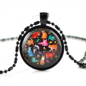 Retro art pattern glass necklace HN01