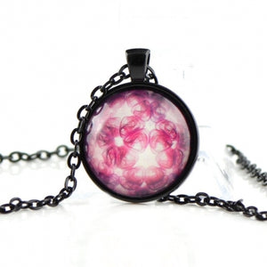 Teenager girl necklace with glass dome SN04