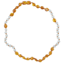 Load image into Gallery viewer, Teething amber necklace with Aquamarine amberlila-shop.myshopify.com