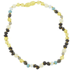 Teething amber necklace with Labradorite Jadeite Glass amberlila-shop.myshopify.com