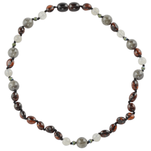 Teething necklace with Agate Jadeite beads amberlila-shop.myshopify.com