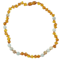 Load image into Gallery viewer, Teething necklace with Amazonite amberlila-shop.myshopify.com